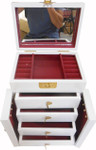 "16"" H. White and Inlaid Mother of Pearl oriental jewelry box, felt lined with vanity mirror!"