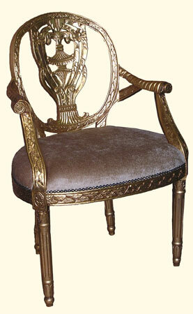 Gold leaf Rococo arm chair with gold fabric