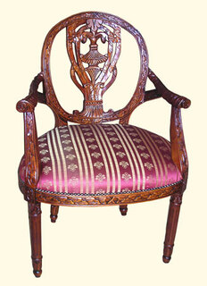 Heavy Carved Oval back Arm Chair