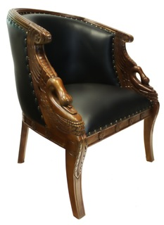 Hand Carved Mahogany Swan Tub Chair with Black Faux Leather Seat.