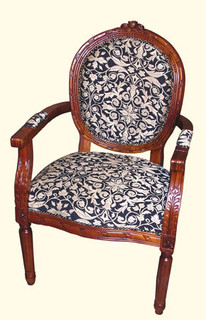 Oval Upholstered Back Arm Chair