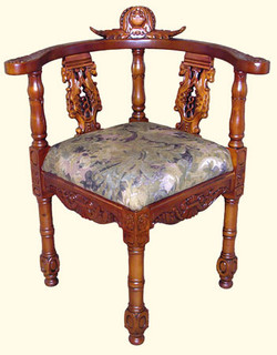 Heavy Carved Corner Chair. Carved Chippendale Corner Chair