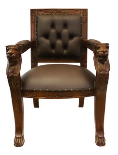 Hand Carved Solid Mahogany English Lion Head Arm Chair with Faux Leather
