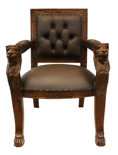 Oriental Arm Chair In Faux Leather And Mahogany With Lion