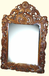 30 by 46 hand carved solid wood frame French style dressing mirror