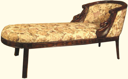 70 by 26 by 35 inch high hand carved dark wood French Swan tub fainting couch