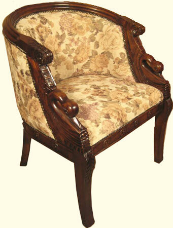 Carved Tub Chair Upholstered Living Room Chair Solid Mahogany With