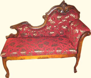50 by 20 by 44 inch high French style settee with red silk upholstery
