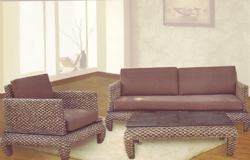 Oriental living room set rattan chairs and coffee tables - Japanese living room furniture ...