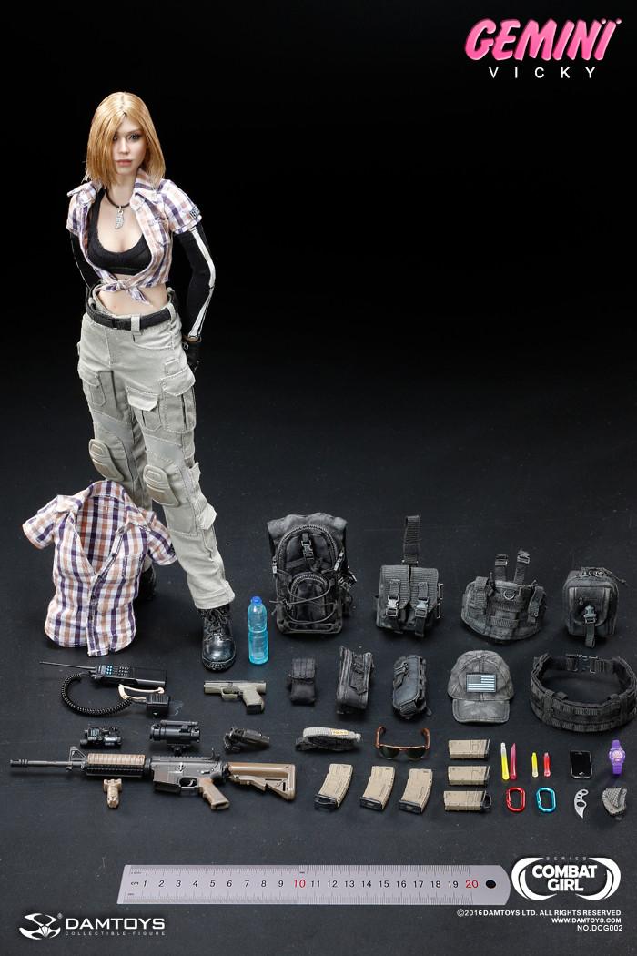 1//6 DAM DAMTOYS Combat Girl Series Gemini Vicky Short Sleeve Plaid Half Shirt
