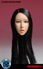 SUPER DUCK SDH006-A 1/6 Scale Girl Head Sculpt Long Black Hair with Attachable Tongue