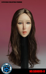 SUPER DUCK SDH006-B 1/6 Scale Girl Head Sculpt Long Brown Hair with Attachable Tongue