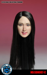 SUPER DUCK SDH007-C 1/6 Scale Asian Girl Head Sculpt Long Black Hair