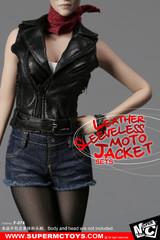 SuperMCTOYS  F-074 1:6 Female Leather Sleeveless Moto Jacket Sets