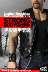 SuperMCTOYS  F-073 1:6 Male Leather Sleeveless Moto Jacket for Tbleague M34/35 Strong Body