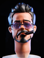 Z 1/6 Scale Male Cartoon Head with Glasses #1