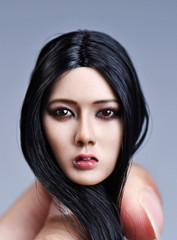YMTOYS 1/6 Asian Female Xiu Head Sculpt - Black Long Hair