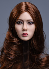 YMTOYS 1/6 Asian Female Xiu Head Sculpt - Brown Curly Hair