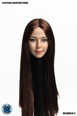 SUPER DUCK SDH010-C 1/6 Scale Asian Beauty Girl Head Sculpt Brown Long Hair