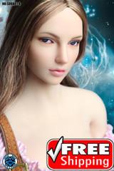 SUPER DUCK SDDX01-A 1/6 Girl Head Sculpt Brown Hair - EyeBall Rolling System