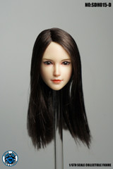 SUPER DUCK SDH015-D 1/6 scale Girl Black Head Sculpt Pale Skin tone