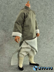 ZY TOYS 1/6 Chinese Kung Fu Costume Outfits: Grey Long Robe with Collar