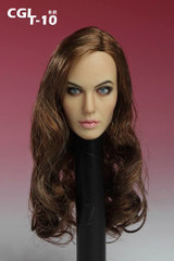 Custom Angelina Jolie Curly Brown Hair 1/6 scale head sculpt