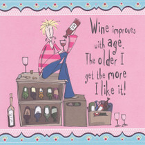 Wine Improves With Age Alcohol Greeting Card - Born To Shop
