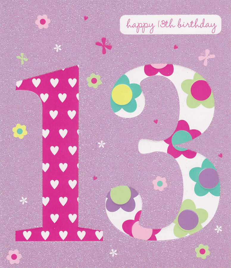 Carlton Cards 13th Birthday Card Raised Lettering And Glitter