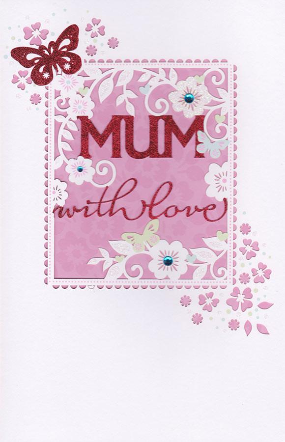 Carlton Cards Mum With Love Birthday Card Die Cut Cardspark