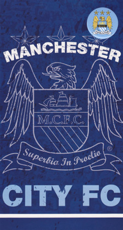 Manchester City. - Blue Birthday Card With Badge