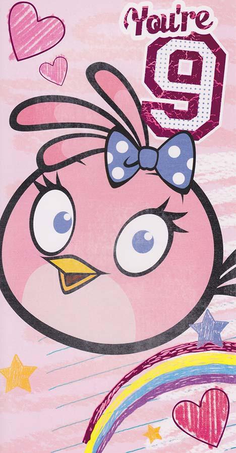 Angry Birds Age 9 Birthday Card Girl Bird Cardspark
