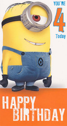 Despicable Me 2 4th Birthday Card