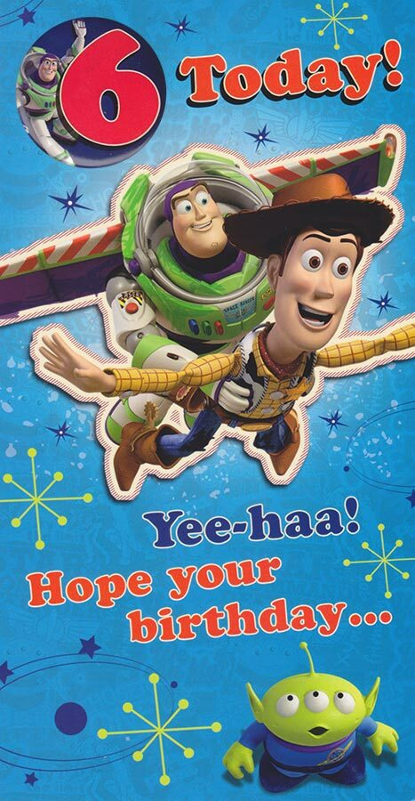 Toy Story Age 6 Birthday Card With Badge Cardspark