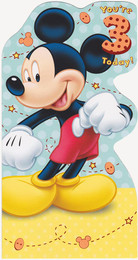 Mickey Mouse - Age 3 Birthday Card - Die-Cut