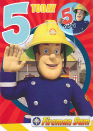 Fireman Sam Age 5 Birthday Card With Badge