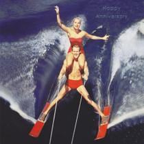 Humorous Anniversary Card - Waterskiing