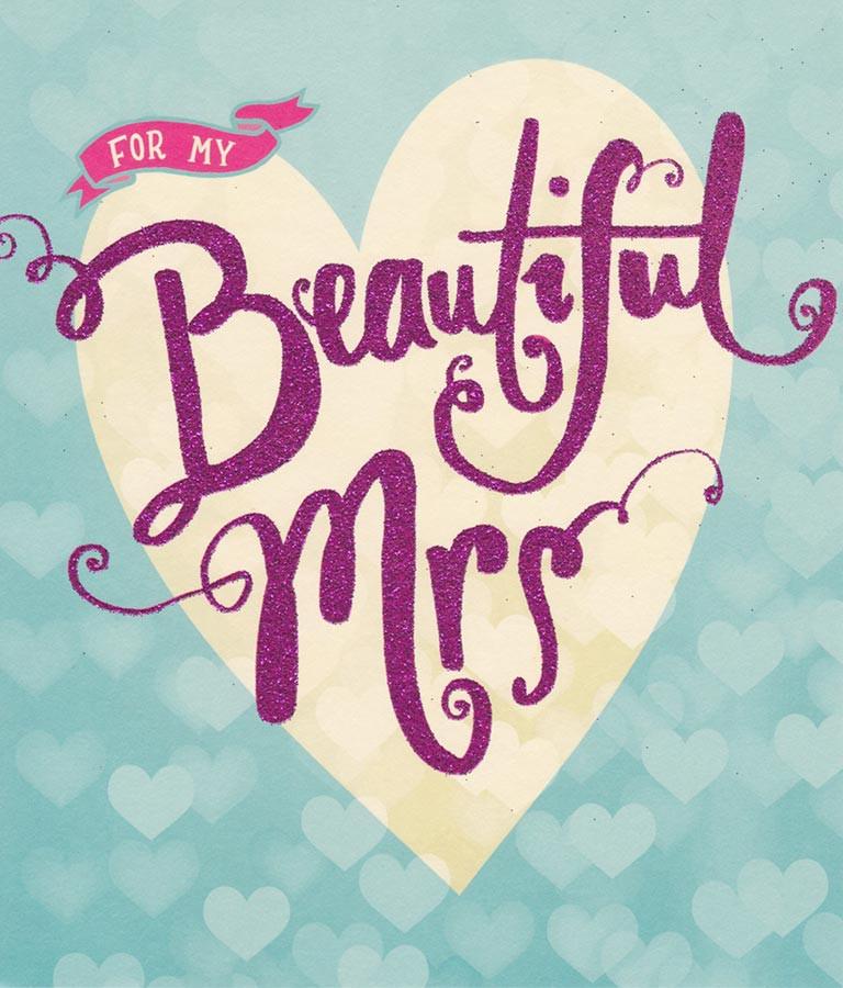 wife wedding anniversary card  beautiful mrs  carlton