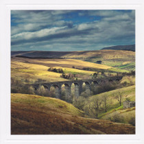 Viaduct and rolling hills - landscape photography Card