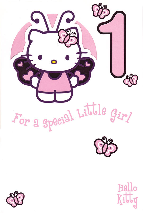 8eaa3e21d Hello Kitty Age 1 Birthday Card. Loading zoom