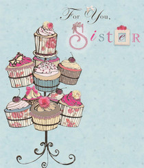 Lola - Sister's Birthday Cupcake Card
