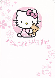 Hello Kitty White Baby Girl Card