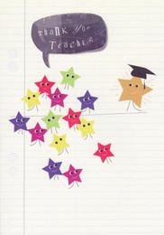 Thank You Teacher Card - Stars