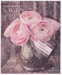 Wife Birthday Card - Roses - Framed