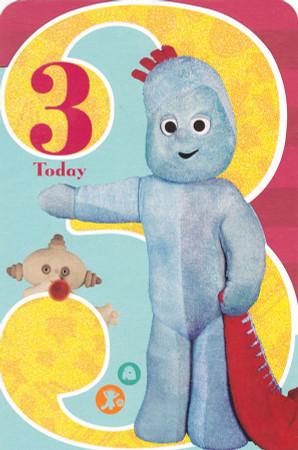 In The Night Garden Age 3 Glitter Birthday Card