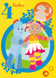 In The Night Garden Age 4 Birthday Card With Badge