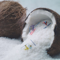 Coconut Skiers Greeting Card