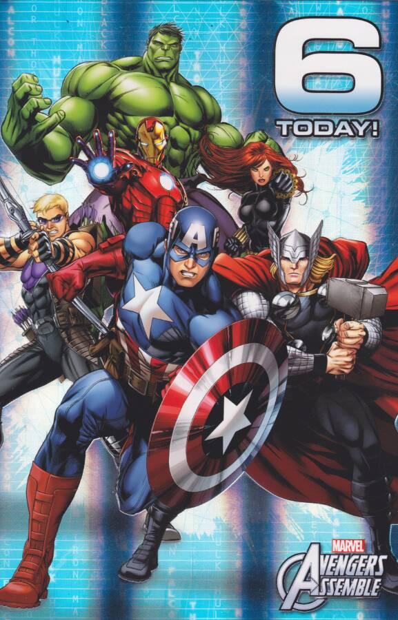 Marvel Avengers Age 6 Birthday Card 6th Cardspark