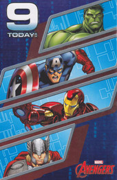 Marvel Avengers - Age 9 Birthday Card