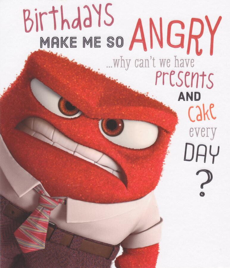 Disney Inside Out - Birthday Card - Anger